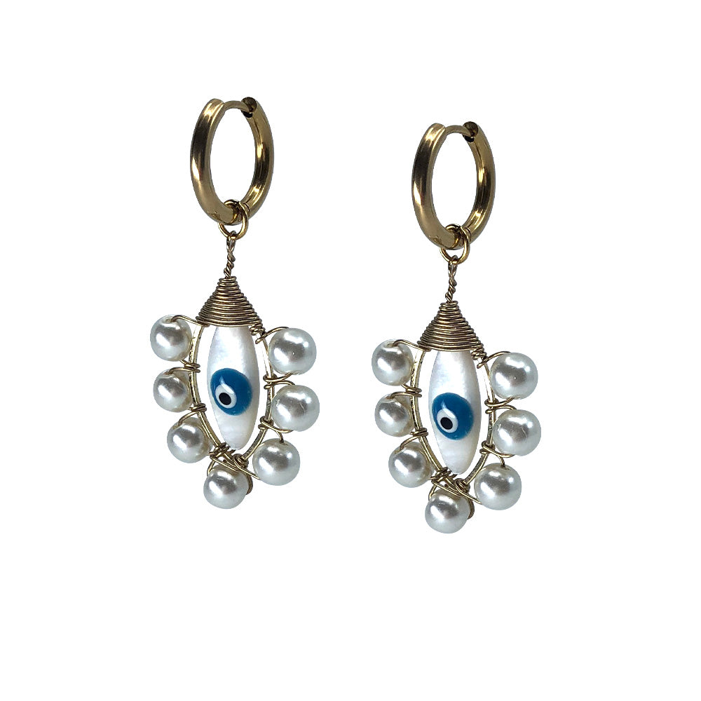 Saqui Studio Evil Eye Pearl Drop Earrings