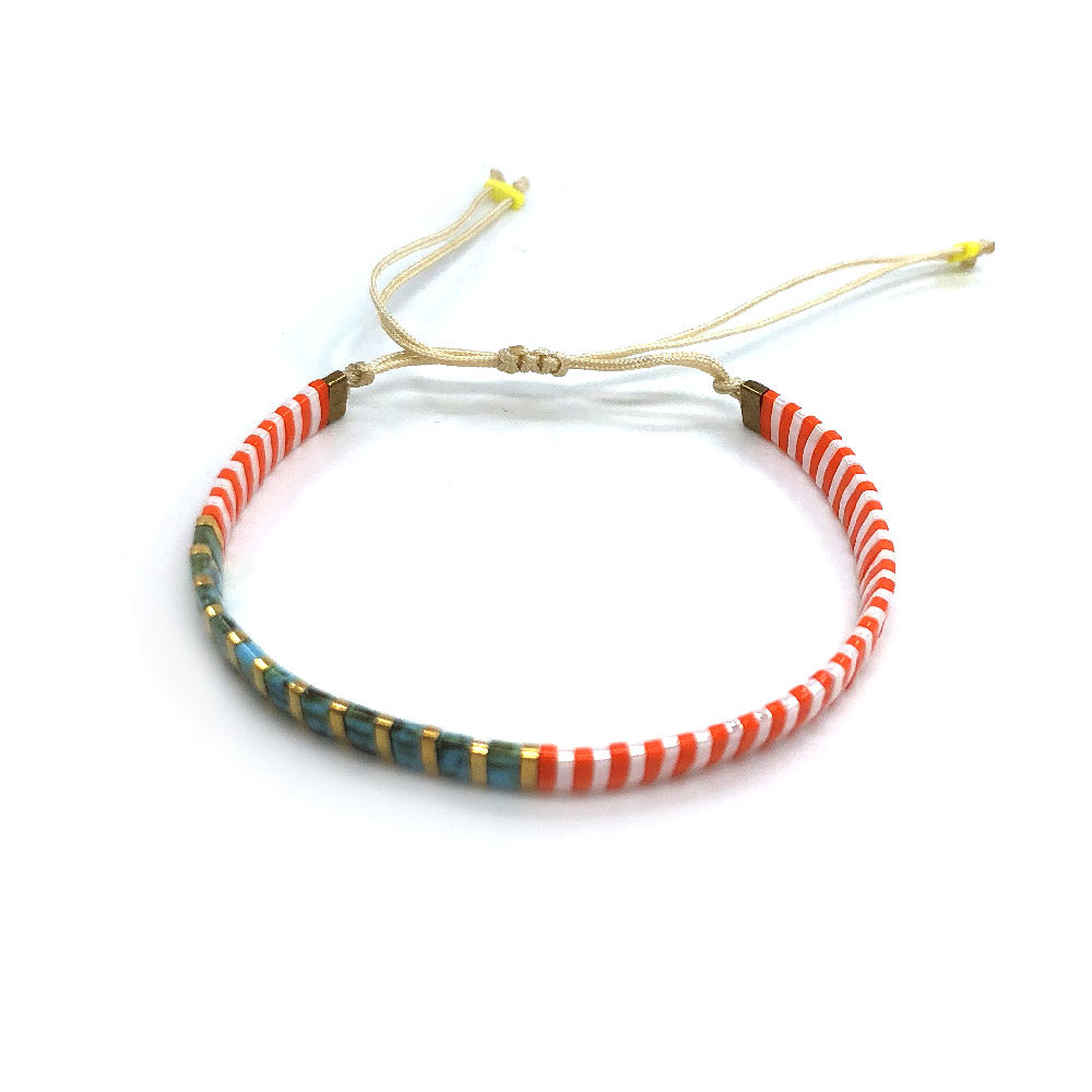Saqui Japanese Glass Bead Thread Bracelet - Tangerine & Turquoise