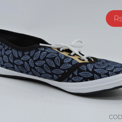 Leaf Printed Blue Court Shoe - Teen Girl