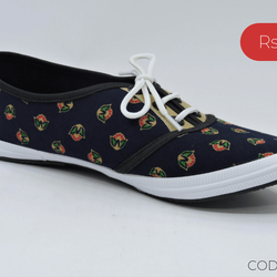 Flower Printed Women's Casual Dark Blue Shoe - Teen Girl
