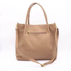 Women's Camel Brown Simple Fashionable Leather Tote Handbags