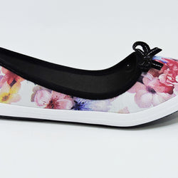 Flower Printed Pink Court Shoe - Teen Girl