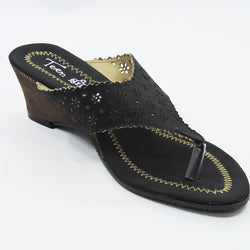 Women's Black Strap Slip-On Heel - Teen Girl