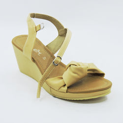 Beige Bow Wedges - Teen Girl
