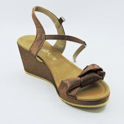 Brown Bow Wedges - Teen Girl