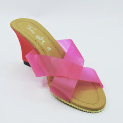 Pink Poly Strap Wedges - Teen Girl
