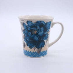 Flower Printed Minimalist Coffee Mug- Blue