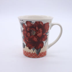 Flower Printed Minimalist Coffee Mug- Red