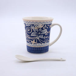 Abstract Floral Pattern Printed Mug- Blue