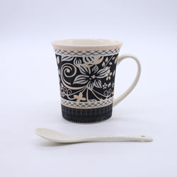 Abstract Floral Pattern Printed Mug- Black