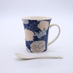 Retro Rose Floral Printed Mug- Blue
