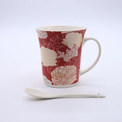 Retro Rose Floral Printed Mug-Red