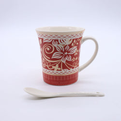 Abstract Floral Pattern Printed Mug- Red