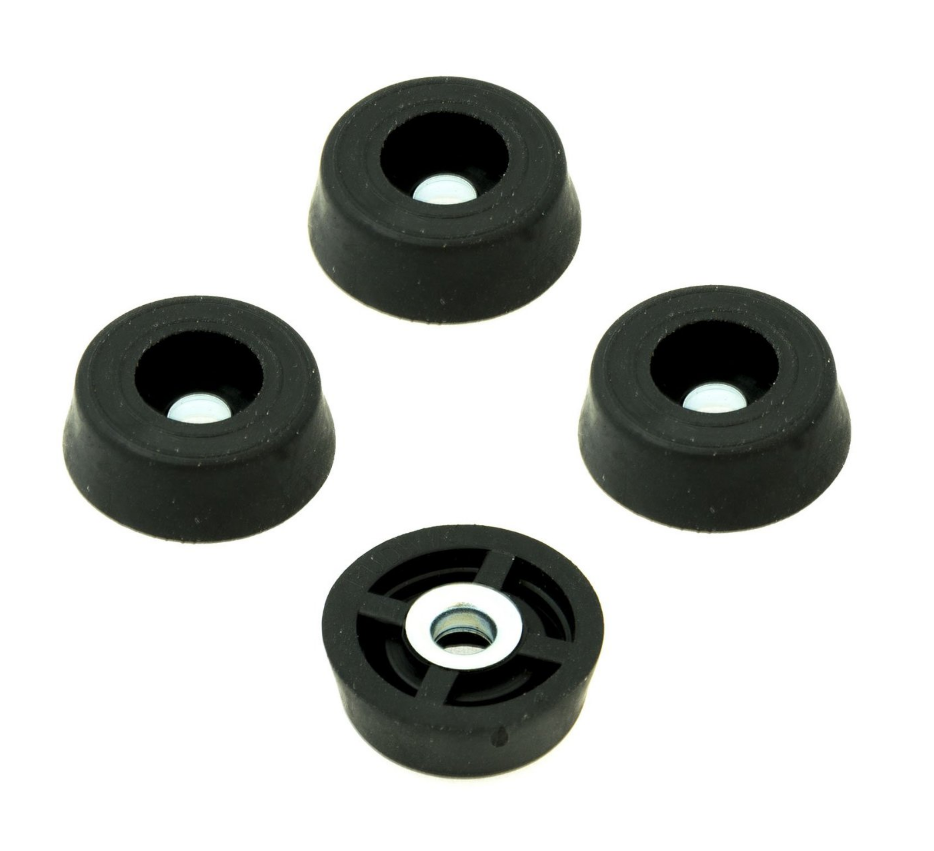 Set of 4 Rubber Feet with Screws - 0.25 High x 0.675 Diameter - not attached, no predrilling needed