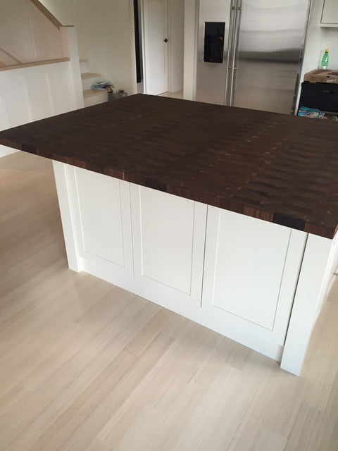 Custom End Grain Walnut Countertop - square pattern