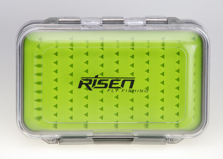 Waterproof fly boxes with green silicone insert