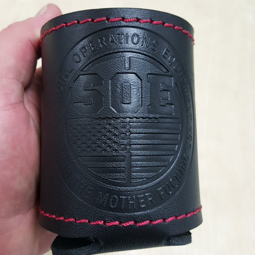 Leather beer/soda can coozie