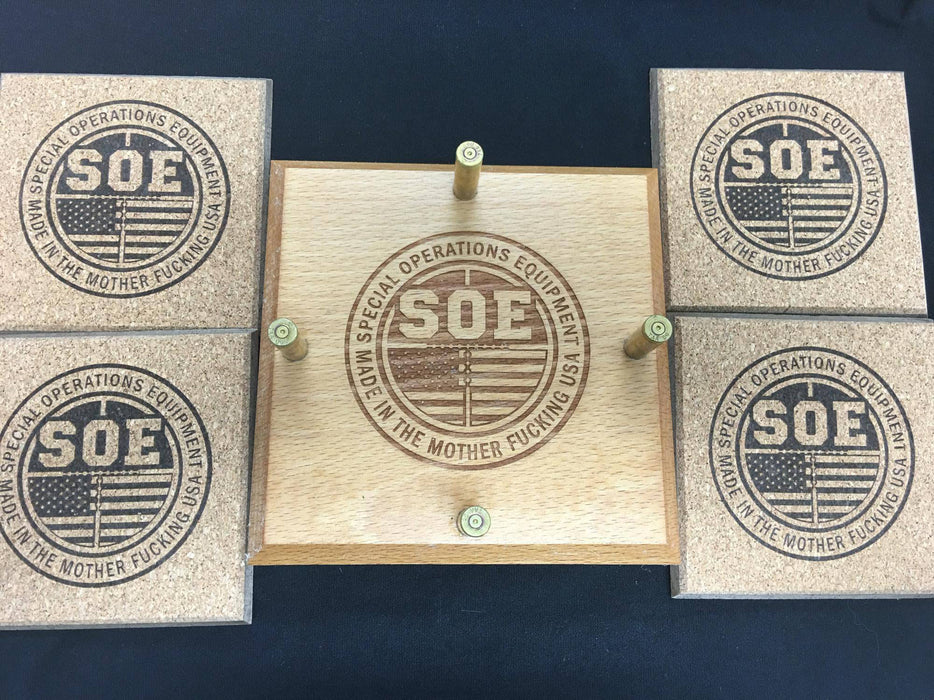 SOE Round Logo cork coaster set