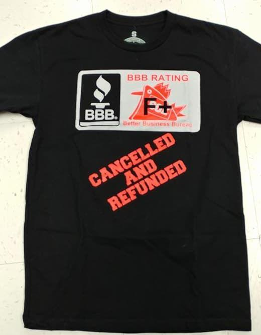 BBB cancelled and refunded t-shirt