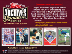 2 BOX BREAK: 2018 Topps Archives Signature Series Retired Player Ed Baseball Box ID 18TARCHSIGS103