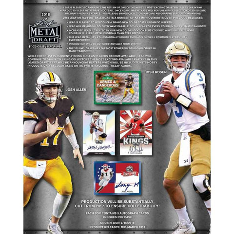 2018 Leaf Metal Draft Football Hobby Box (15 TOTAL SPOTS FOR 5 CHECKLIST PLAYERS $10.50 PER SPOT) ID 18MEDFB188