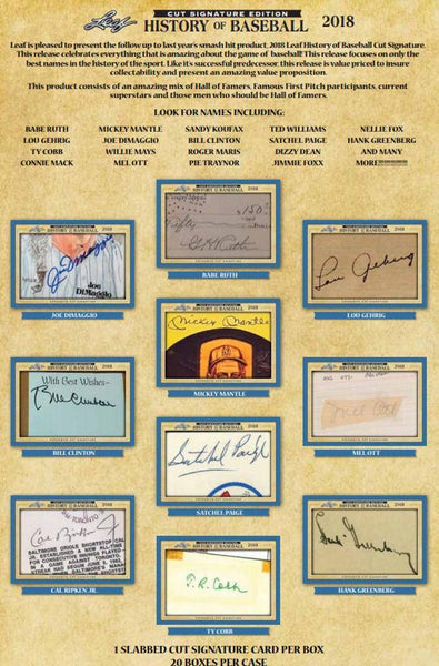 2 box break: 2018 Leaf History of Baseball Cut Signature ID 18LEAFHOB464