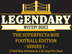 FRIDAY: 2018 LEGENDARY MYSTERY BOXES FOOTBALL EDITION 2 FULL SIZE HELMETS AND 2 JERSEYS ID 18LMYSBOX101