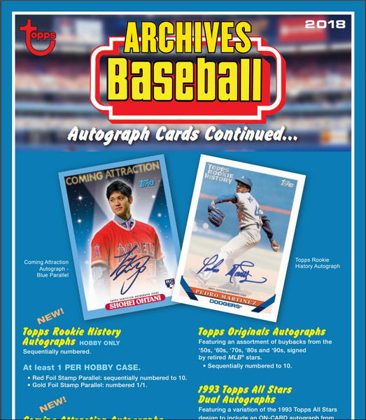 EVERYBODY GETS A PACK 2018 Topps Archives Baseball Hobby ID 18ARCHIVESBB102