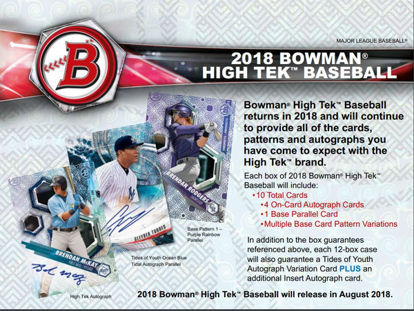 2018 Bowman High Tek Baseball, $6.75 per team, 25 spots ID 18BOWTEK104