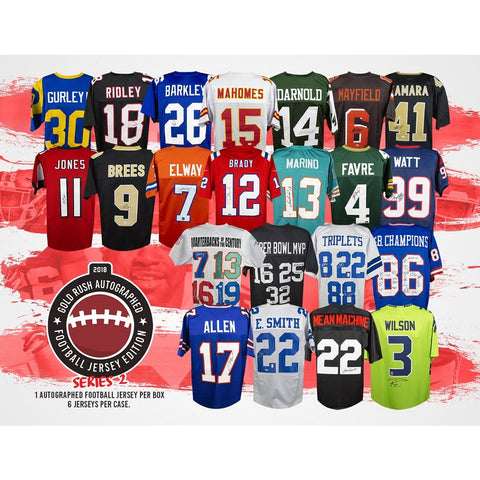 PICK YOUR TEAM: 2018 GOLD RUSH AUTOGRAPHED FOOTBALL JERSEY EDITION SERIES 2 BOX  18GRFBS2PYT529