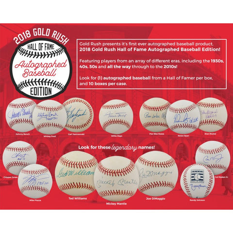2018 GOLD RUSH HALL OF FAME AUTOGRAPHED BASEBALL EDITION BOX (20 TOTAL SPOTS FOR 3 CHECKLIST PLAYERS) ID 18GRBASEBL230