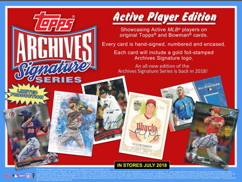 2 box break: 2018 Topps Archives Signature Series Baseball Box $7.50 per 3 checklist players, 22 total spots ID 18ARCHSSS102