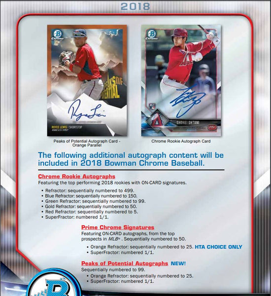 Random Teams: 2018 Bowman Chrome Baseball HTA Choice ID 18BOWHTA112