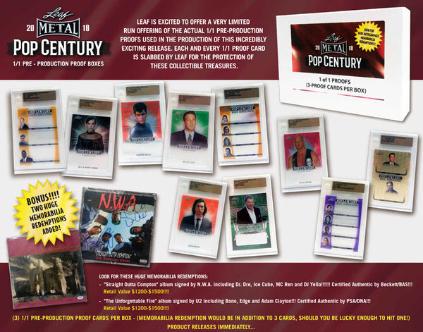 2018 LEAF METAL POP CENTURY 1/1 PRE-PRODUCTION PROOF BOX $6.50 per last name letter, 19 total spots ID 18POPPROOF120