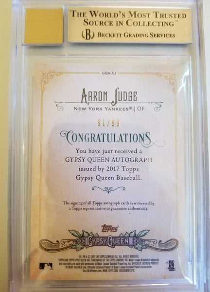 2017 Topps Gypsy Queen Black & White Aaron Judge RC AUTO 91/99 BGS 9.5