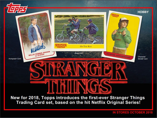 Oct 31 Release: EVERYBODY GETS A PACK 2018 Topps Stranger Things Hobby Box ID STRANGERT101
