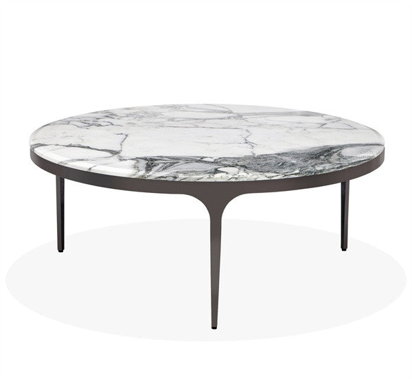 "Stainless Steel & Marble 42""Dia Table - Arabescato - Grats Decor Interior Design & Build, Inc.  - 1"