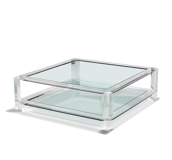 "Acrylic & Glass 52"" Coffee Table - Square"