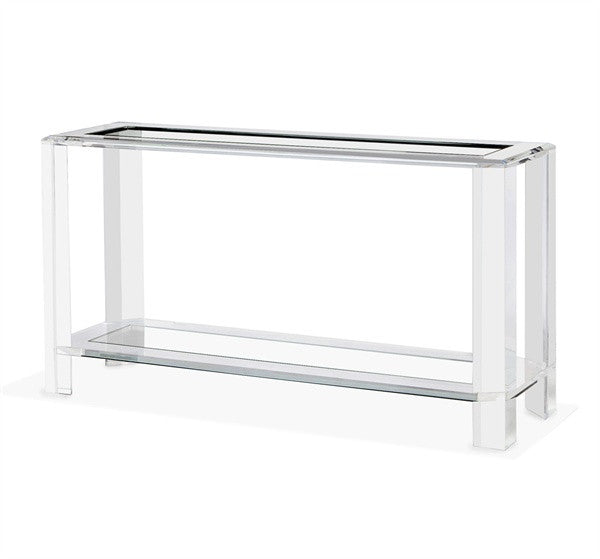 "Acrylic & Glass 60"" Console with Shelf - Grats Decor Interior Design & Build Inc."