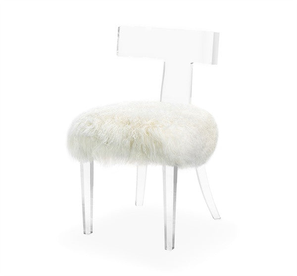 Acrylic Klismos Chair - Ivory Sheep - Grats Decor Interior Design & Build Inc.