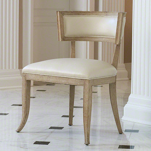 Klismos Chair-Beige Leather - Grats Decor Interior Design & Build Inc.
