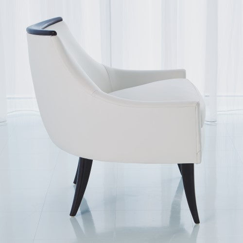 Boomerang Chair - White Leather - Grats Decor Interior Design & Build Inc.