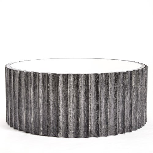 "Reflective 40""Dia Column Cocktail Table-Black Cerused Oak"