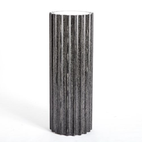 "Reflective Column 44""H Pedestal-Black Cerused Oak"