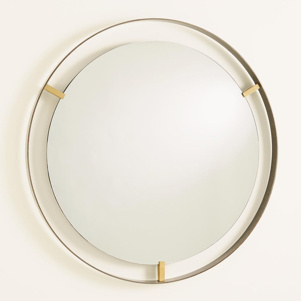 Floating Mirror - Brass Clips - Bronze Rim - Grats Decor Interior Design & Build Inc.