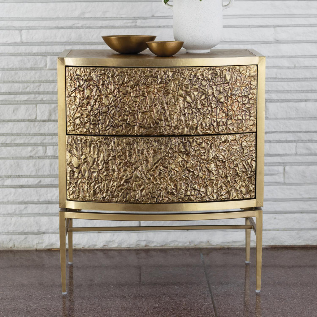 Crinkle Bedside Chest - Brass / Bronze - Grats Decor Interior Design & Build Inc.
