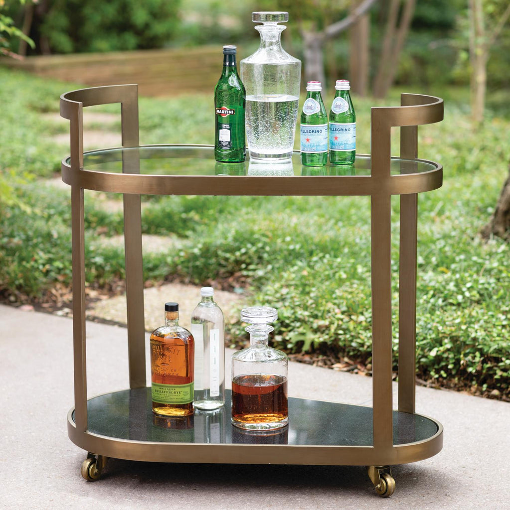 Regan Bar Cart - Antique Brass - Grats Decor Interior Design & Build Inc.