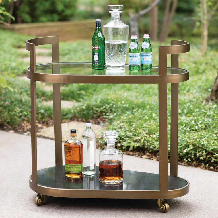 Regan Bar Cart - Antique Brass