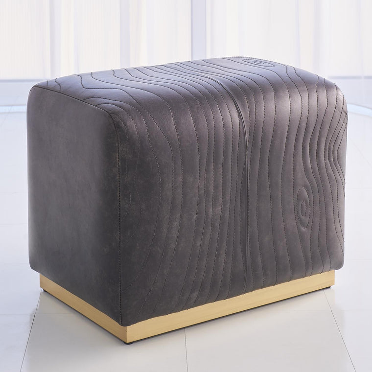 Forest Ottoman - Charcoal Leather