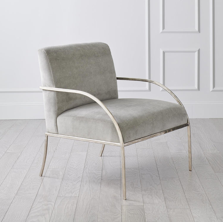 Swoop Chair - Grey Velvet - Nickel
